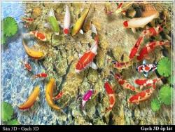 Khui hộp gạch 3D ốp tường - lát sàn chủ đề Cá Chép Phong Thủy
