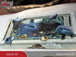 Review bộ gạch 3D ốp tường - lát sàn Cá Heo và Đại Dương