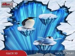 Mở hộp tấm 3D trang trí tường chủ đề Chim Cánh Cụt