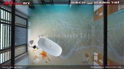Mẫu thiết kế gạch 3D phòng tắm 2