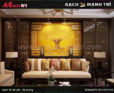 Mẫu thiết kế gạch 3D phòng khách 4