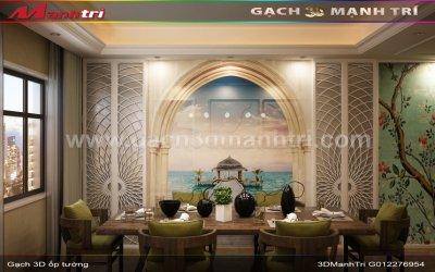 Mẫu thiết kế gạch 3D phòng ăn 2