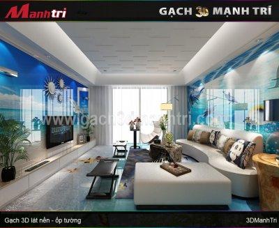 Mẫu thiết kế gạch 3D phòng khách 6