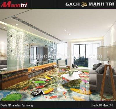 Mẫu thiết kế gạch 3D phòng khách 7