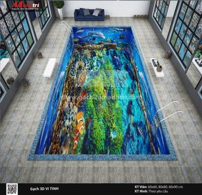 Mẫu thiết kế gạch 3D hồ bơi 3