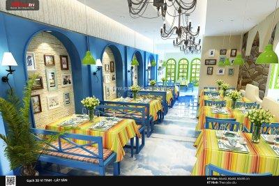 Mẫu thiết kế gạch 3D nhà hàng 1