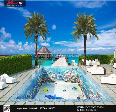 Mẫu thiết kế gạch 3D hồ bơi 9