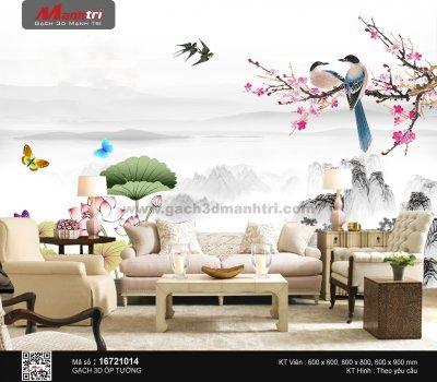 Gạch 3D hoa và chim