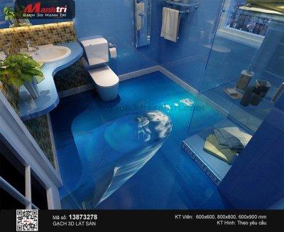 Phòng tắm sinh động hơn với gạch tranh 3D đại dương