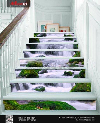 Cầu thang độc đáo và phong cách với gạch 3D Mạnh Trí
