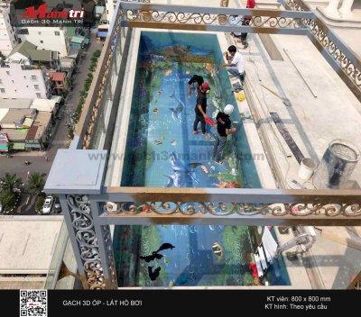 Công trình 3D thực tế tại hồ bơi nhà anh Bình, Quận 2