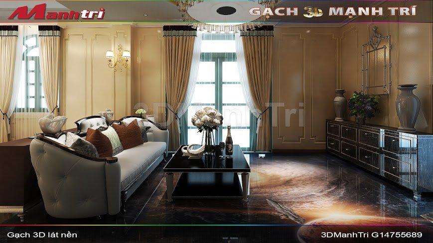 Mẫu thiết kế gạch 3D phòng khách 1