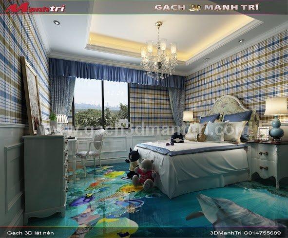 Mẫu thiết kế gạch 3D phòng ngủ 3