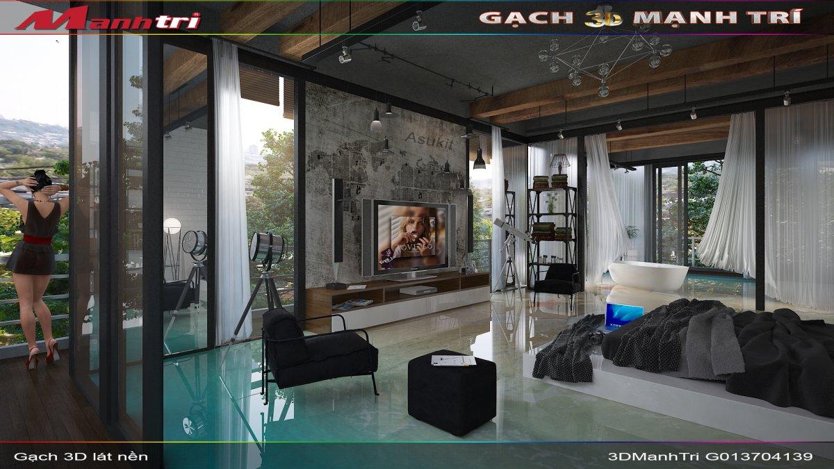 Mẫu thiết kế gạch 3D phòng ngủ 4