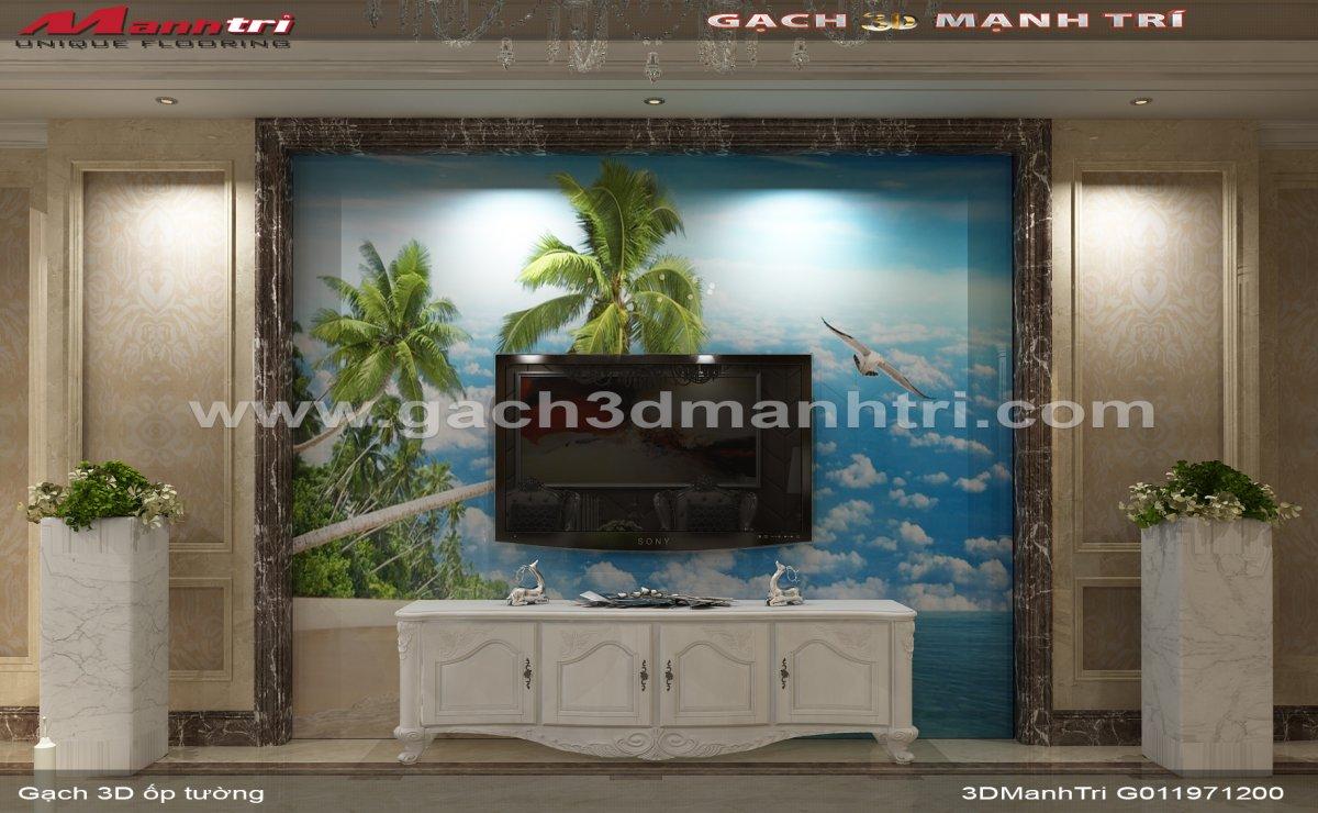 Mẫu thiết kế gạch 3D phòng khách 3
