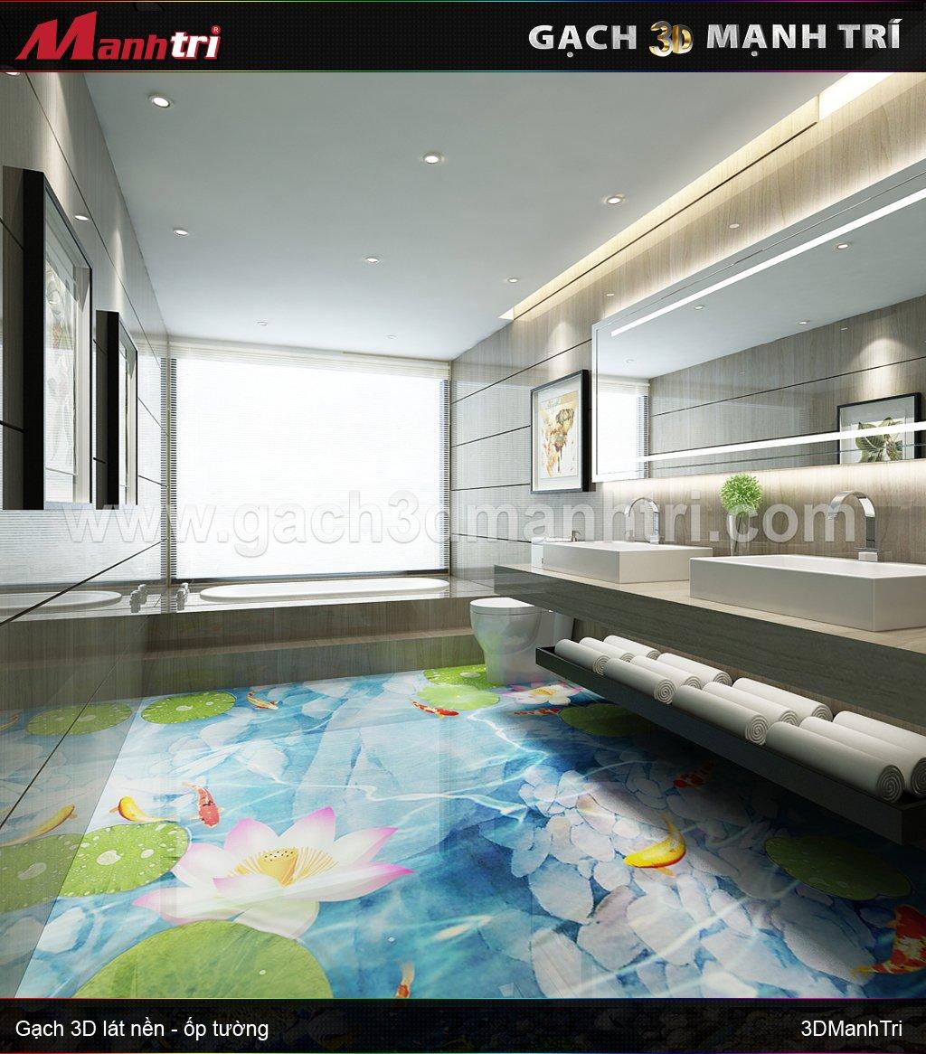 Mẫu thiết kế gạch 3D phòng tắm 3