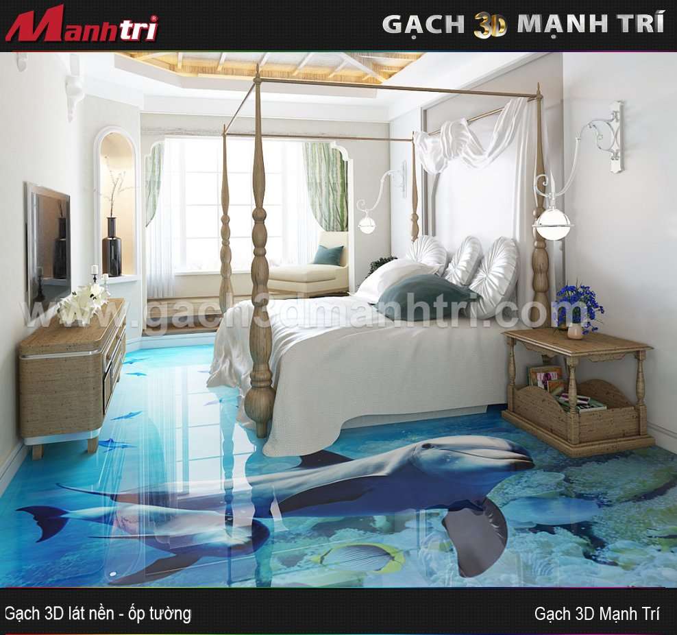 Mẫu thiết kế gạch 3D phòng ngủ 7