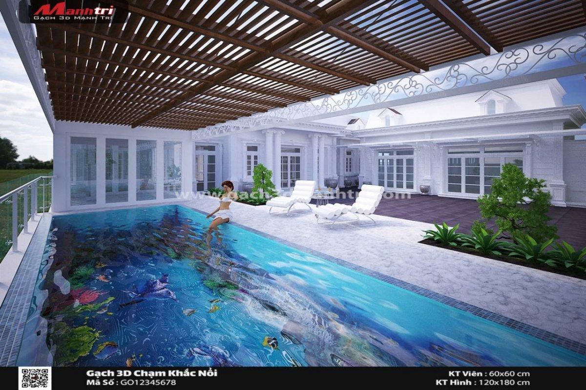 Mẫu gạch 3D Hồ bơi 2