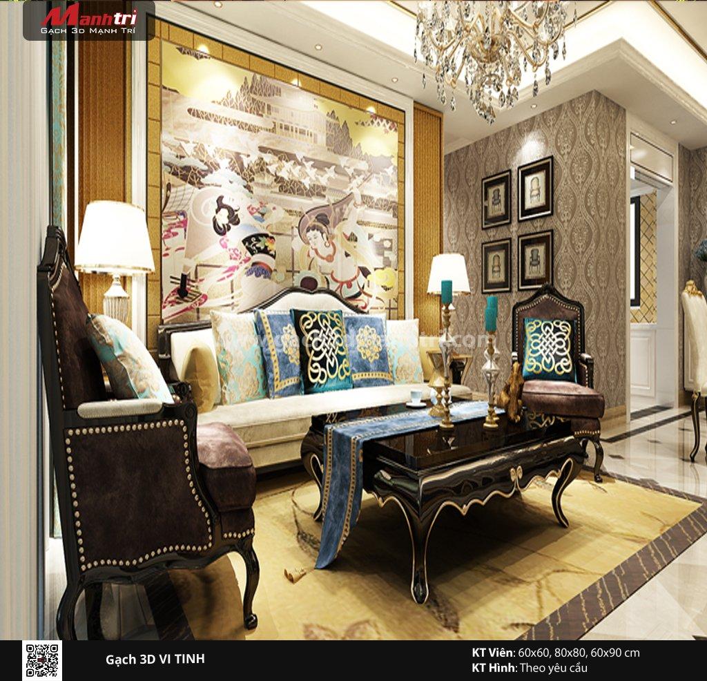 Mẫu thiết kế gạch 3D phòng khách 11